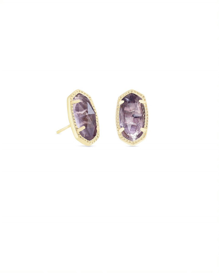Kendra Scott Ellie Gold Stud Earrings In Amethyst