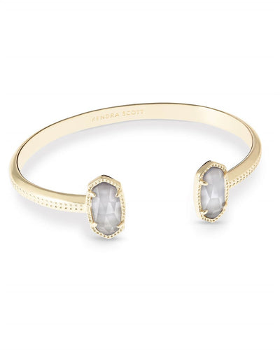 Kendra Scott Elton Gold Cuff Bracelet In Slate Cats Eye