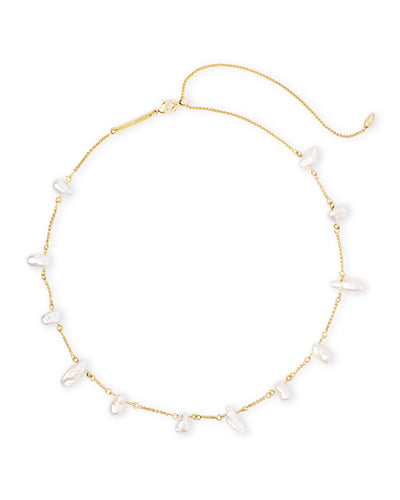 Kendra Scott Krissa Gold Necklace in Baroque Pearl