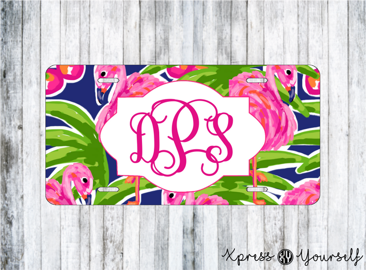 Flamingo Watercolor License Plate