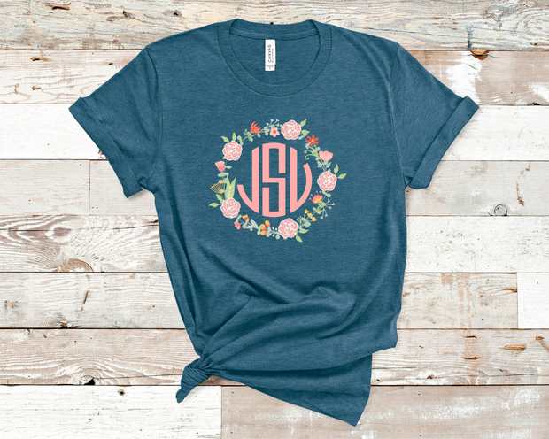 Floral Wreath Monogram Tee