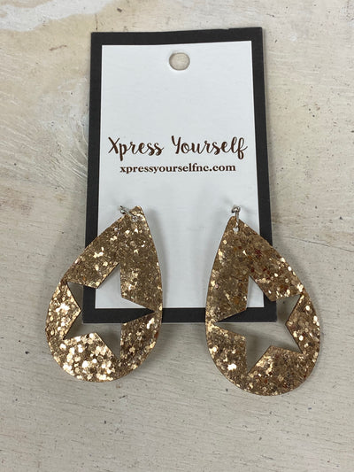 Gold Glitter Star Teardrop Earrings