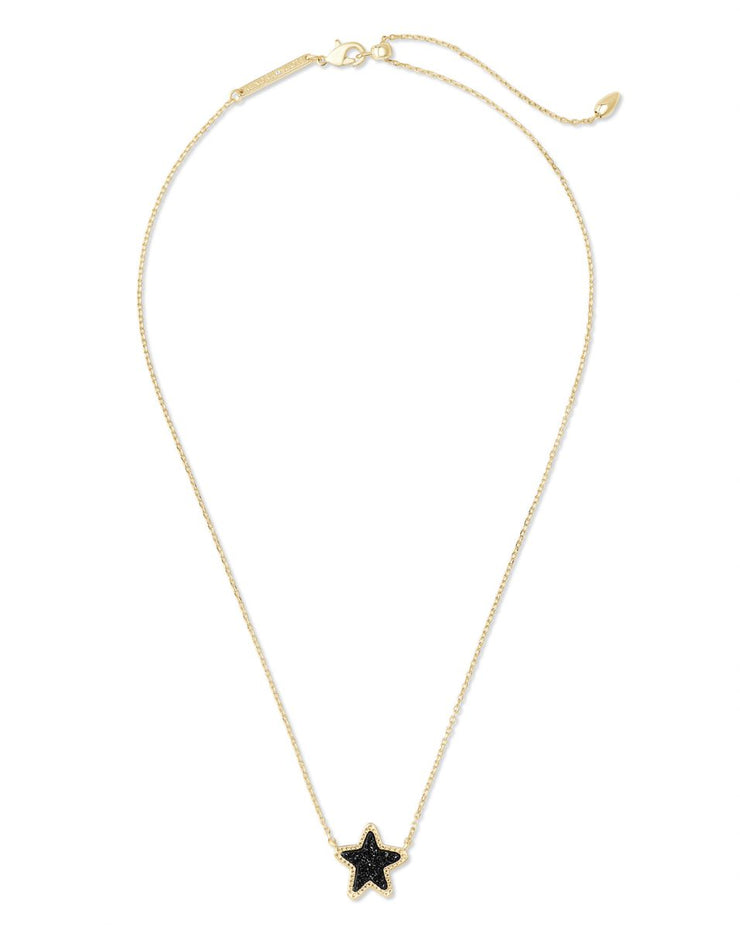 Kendra Scott Jae Star Gold Pendant Necklace In Black Drusy