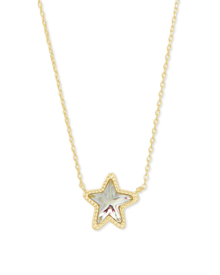 Kendra Scott Jae Star Gold Pendant Necklace In Dichroic Glass