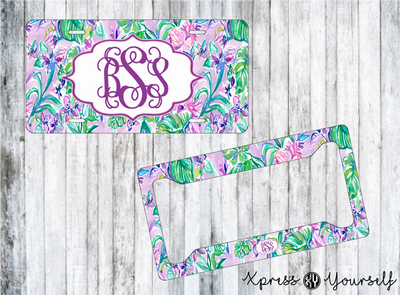 Mermaid in the Shade Lilly Inspired License Plate and Frame Combo