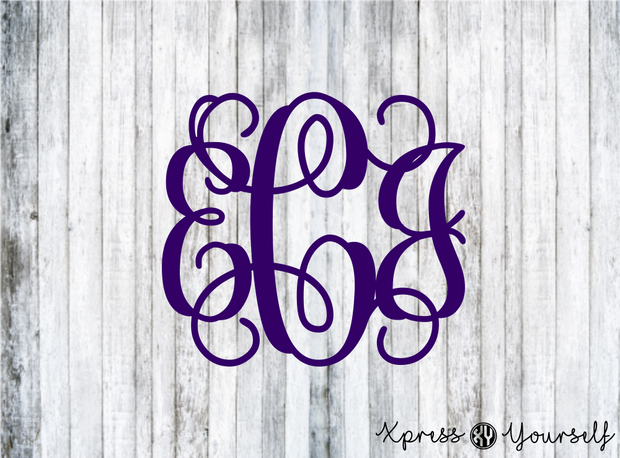 Single Color, Three Initial Vinyl Decal