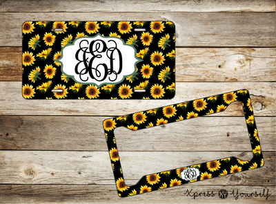 Sunflower License Plate and Frame Combo