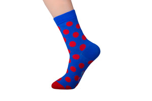 Spotted Blue and Red Socks