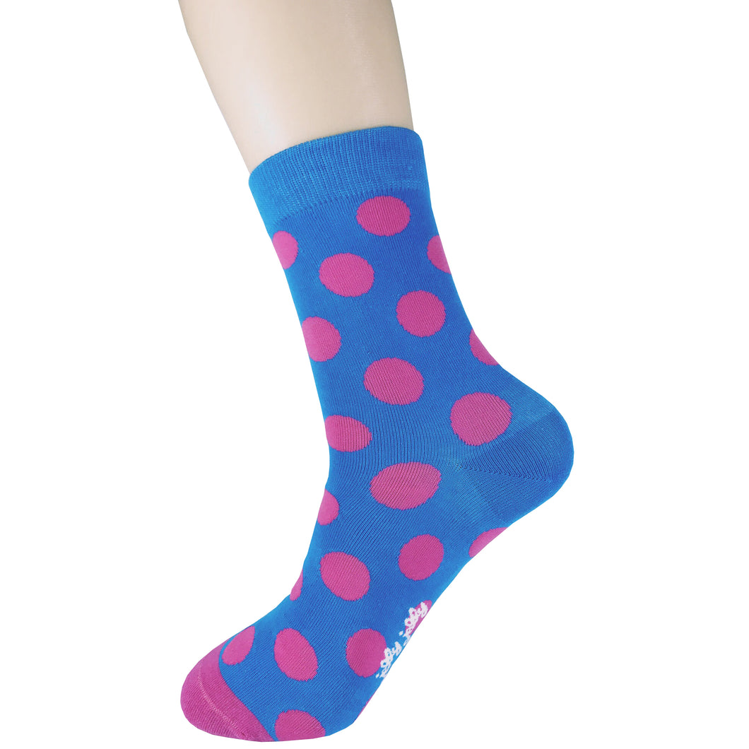 Spotted Blue and Fuschia Socks