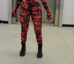 Graffiti Mesh Leggings