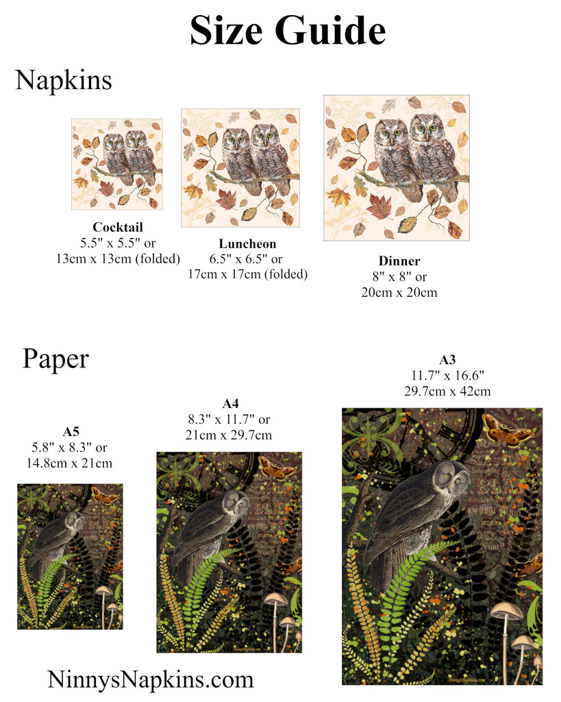 Napkin and Paper Size Guide