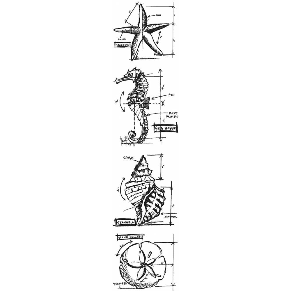 Tim Holtz Mini Blueprints Strip Cling Stamps, Nautical