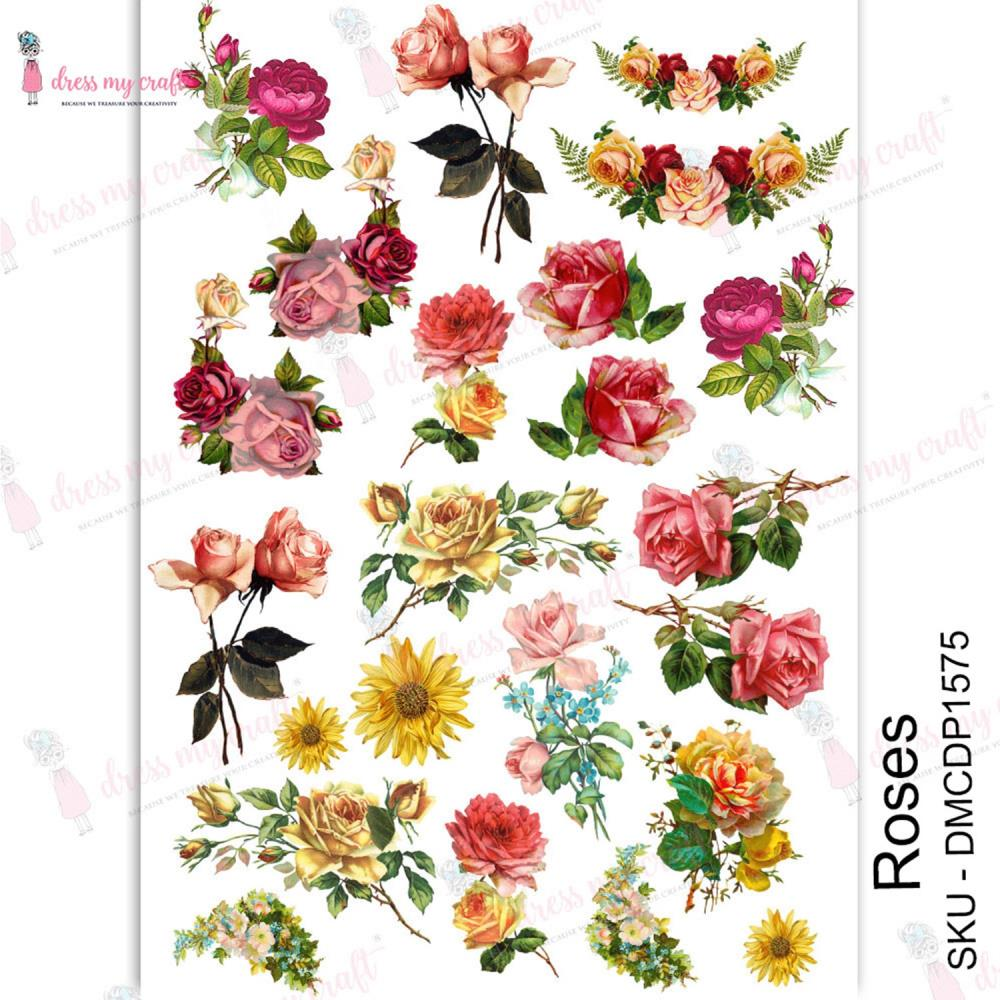 Dress My Craft Roses Transfer Me Sheet A4