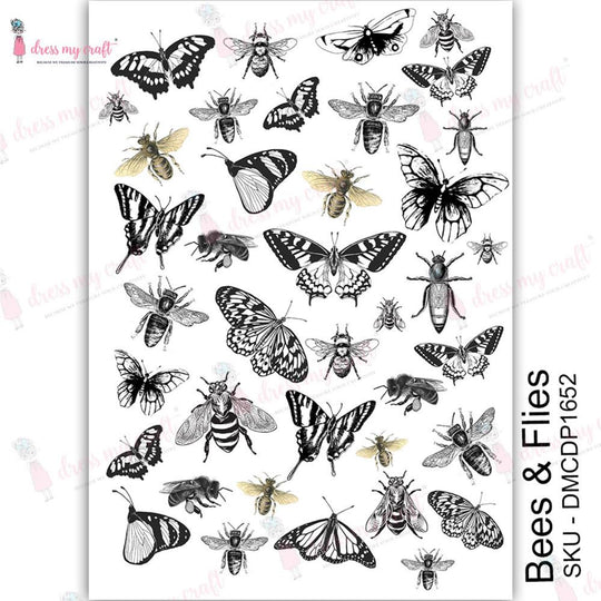 Dress My Craft Bees and Flies Transfer Me Sheet A4