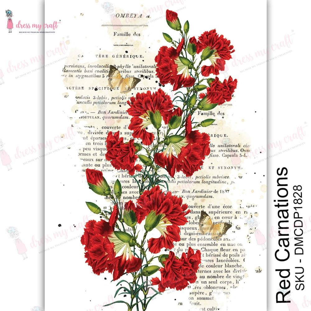 Dress My Craft Red Carnations Transfer Me Sheet A4