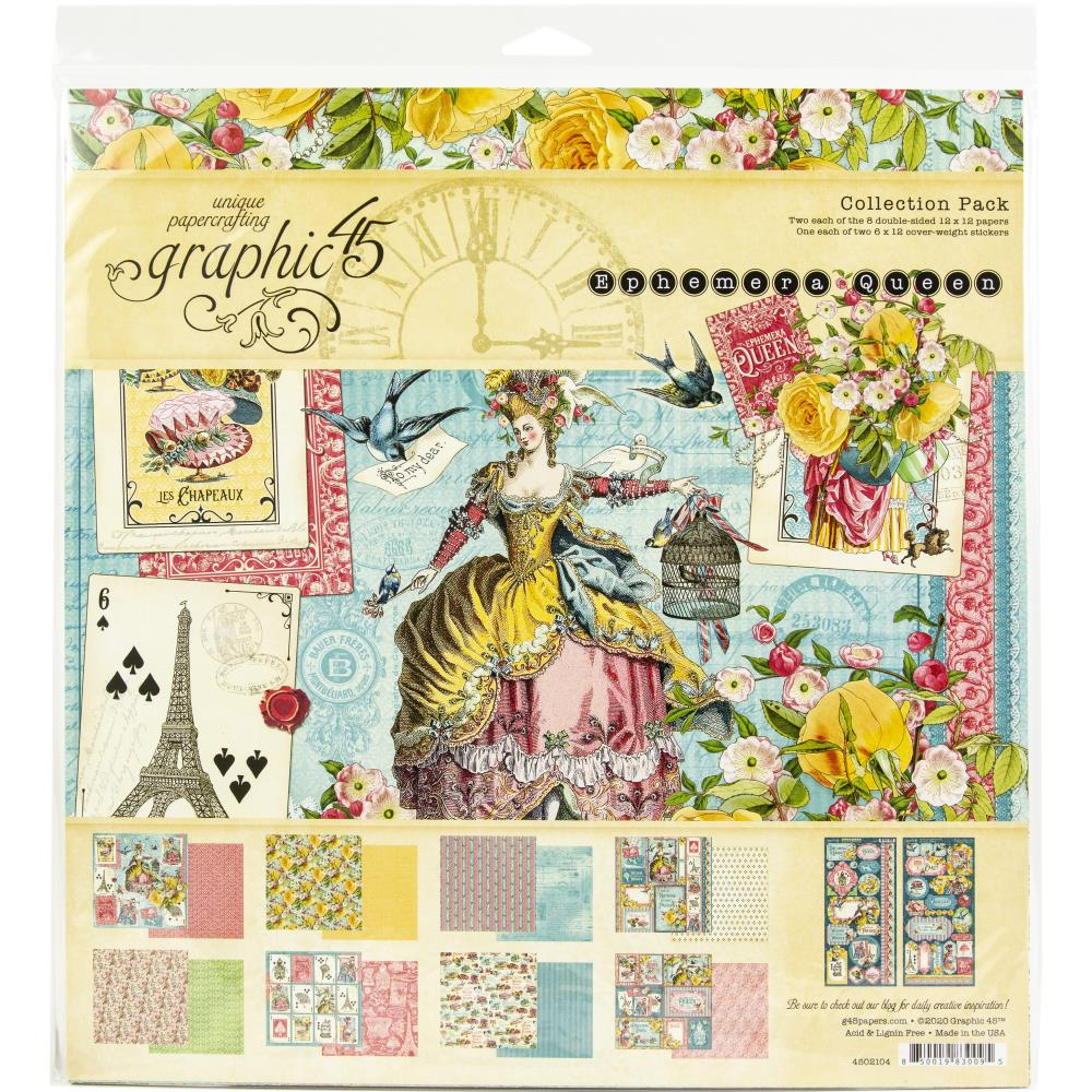 Graphic 45 Ephemera Queen Collection Pack 12