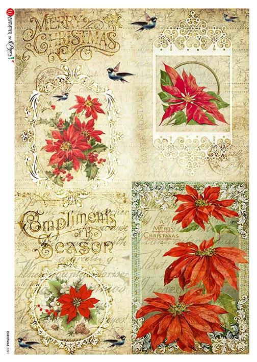Paper Designs A4 Rice Paper Merry Christmas Poinsettia