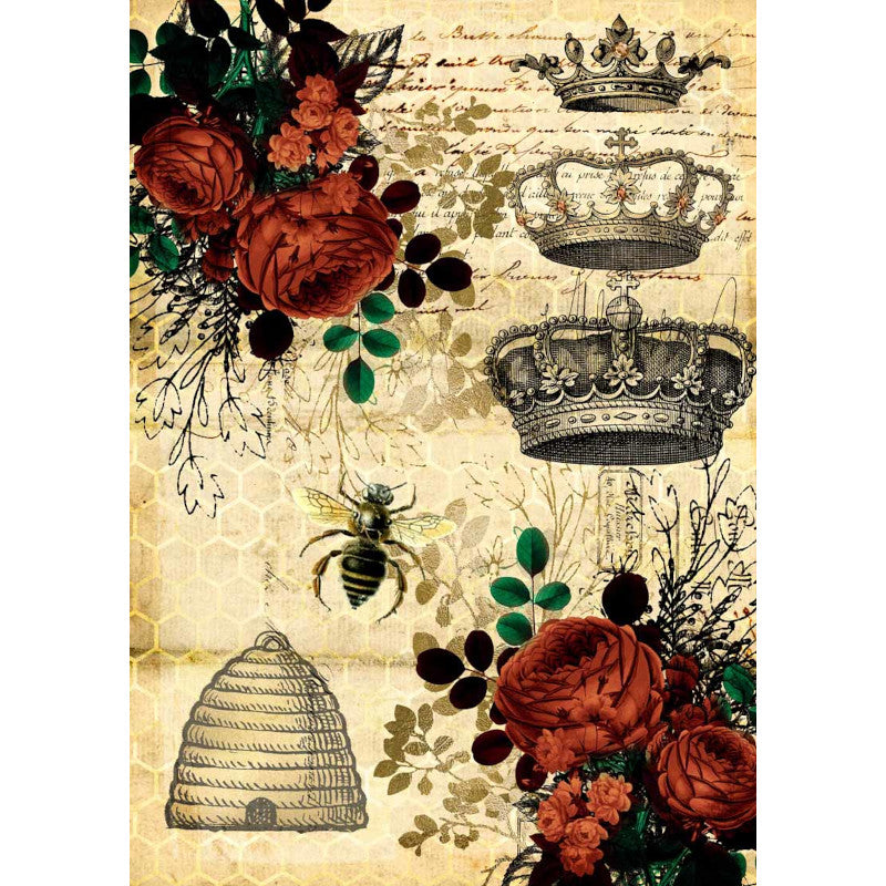 Decoupage Queen Rice Paper Queen Bee and Red Roses 0007