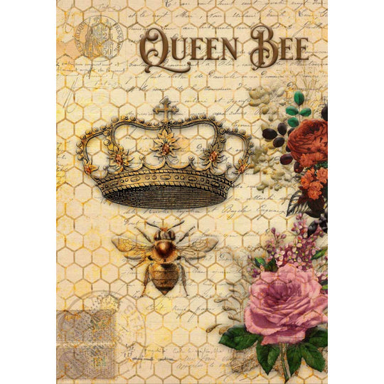 Decoupage Queen Rice Paper Queen Bee and Roses 0006
