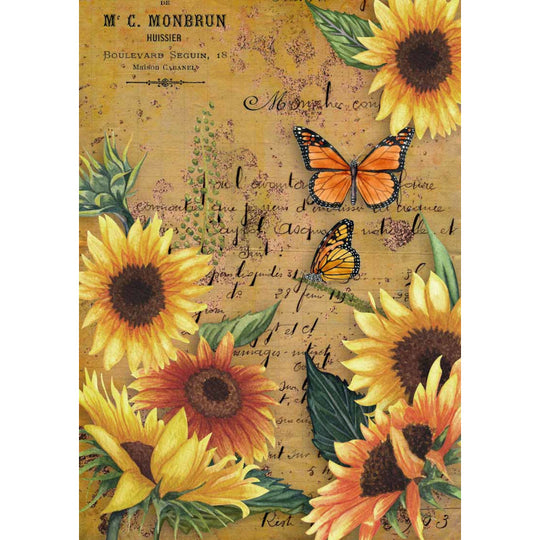 Decoupage Queen Rice Paper Sunflowers and Monarch 0005