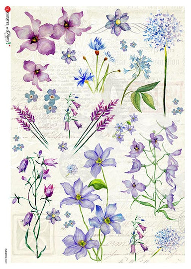 Paper Designs A4 Rice Paper Purple Flowers