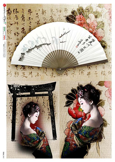 Paper Designs A4 Rice Paper Geisha and Fan