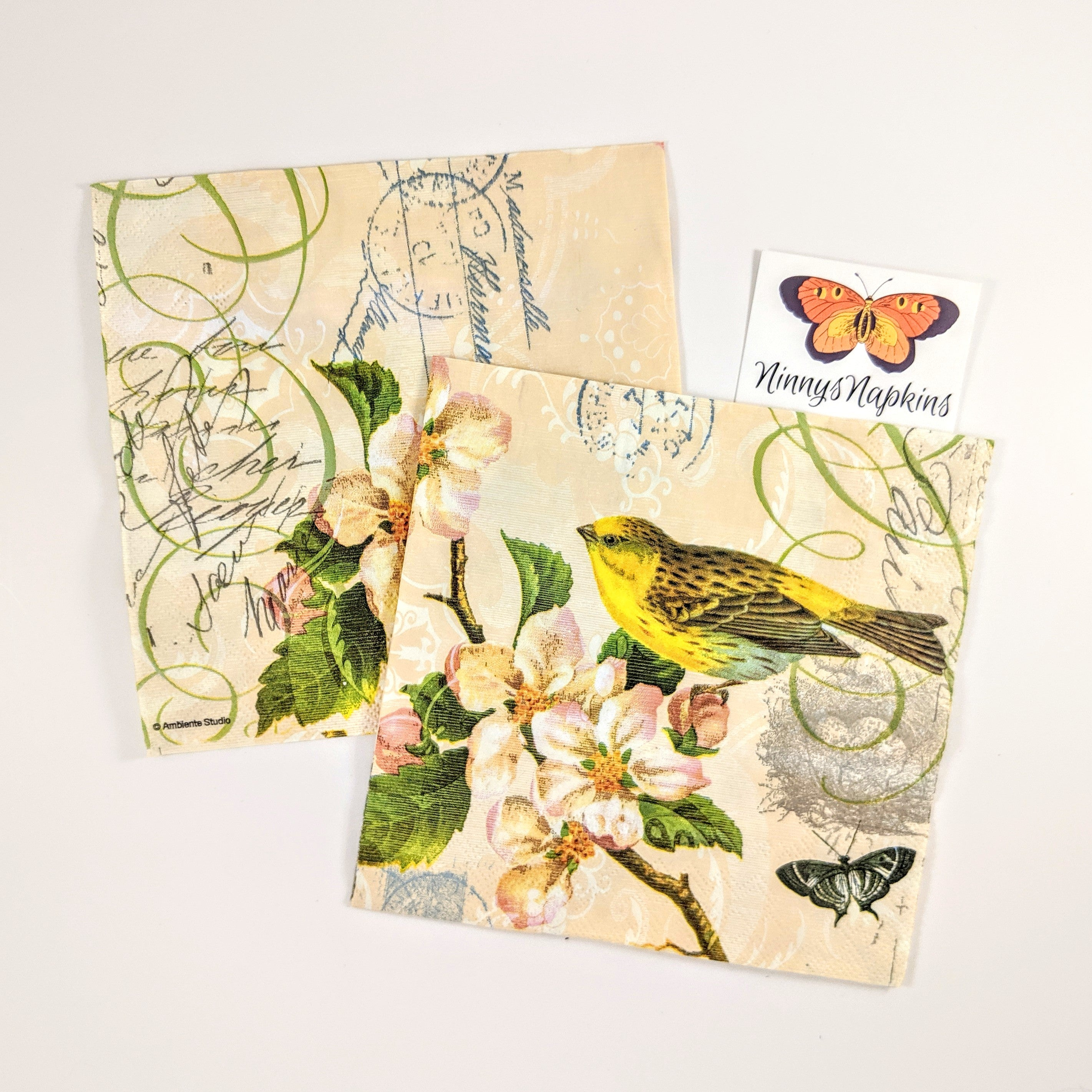 Bird and Blossom napkin for decoupage