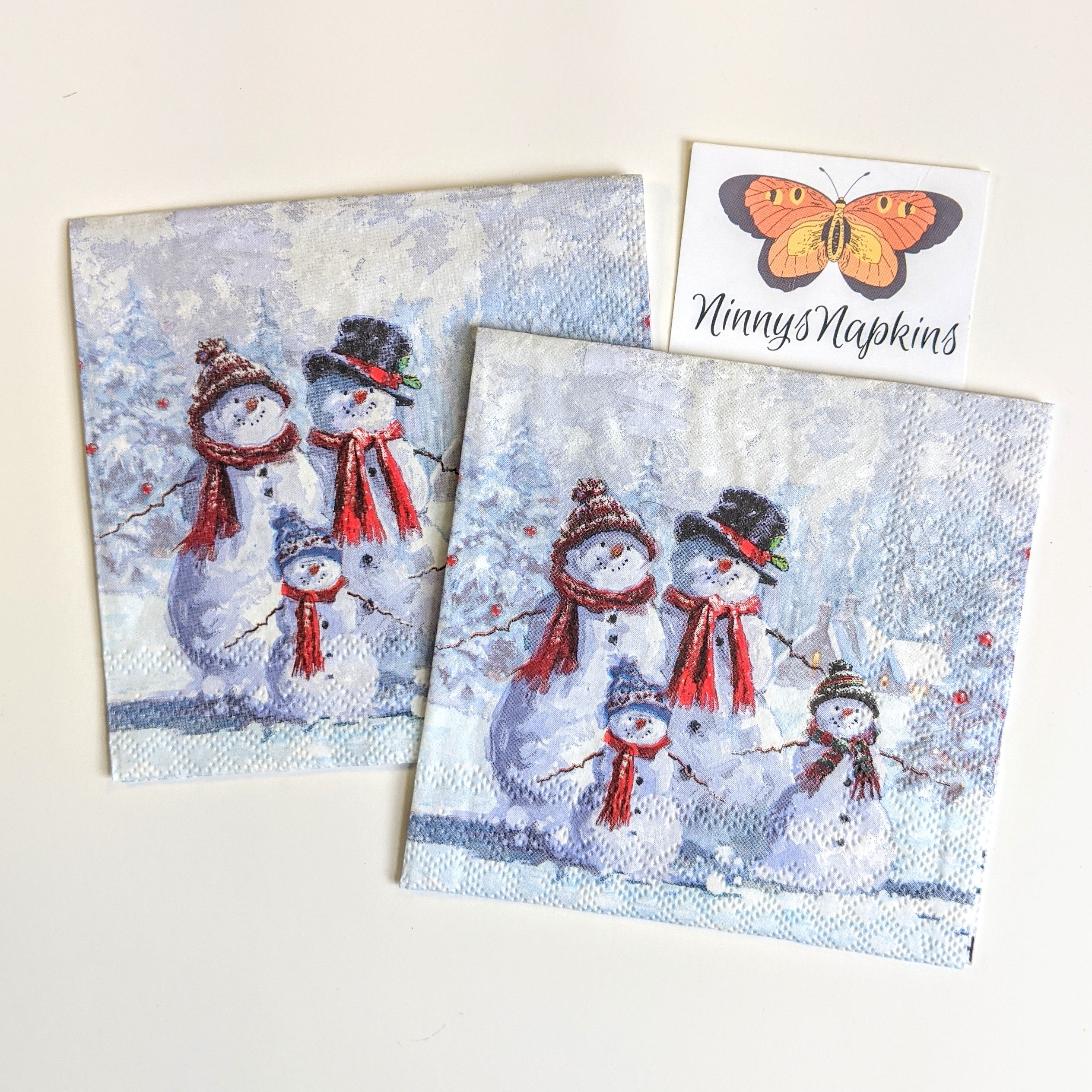 Snowman with Hat - Ninnys Napkins for decoupage