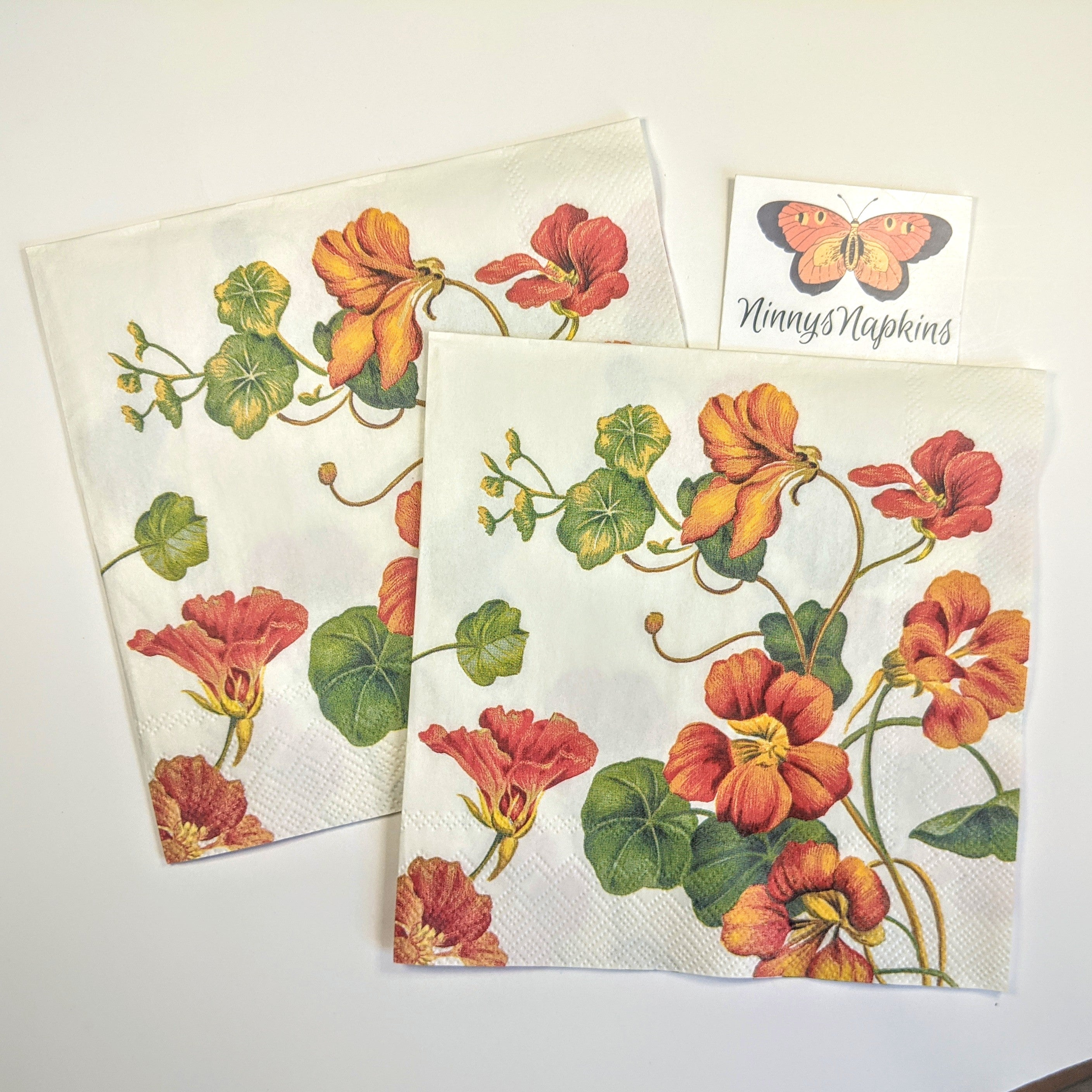 nasturtium napkins for decoupage