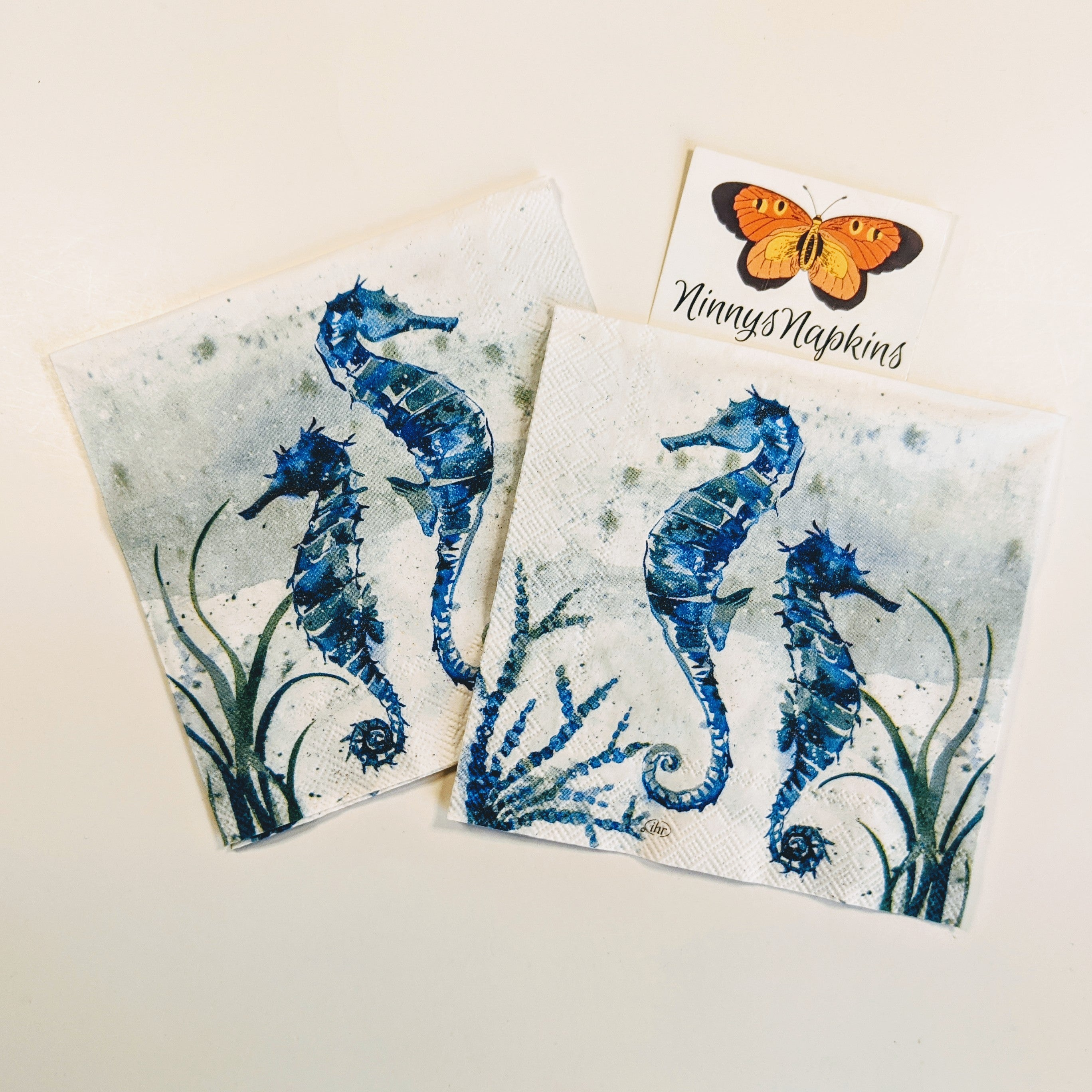 Napkins for Decoupage aquaworld seahorse