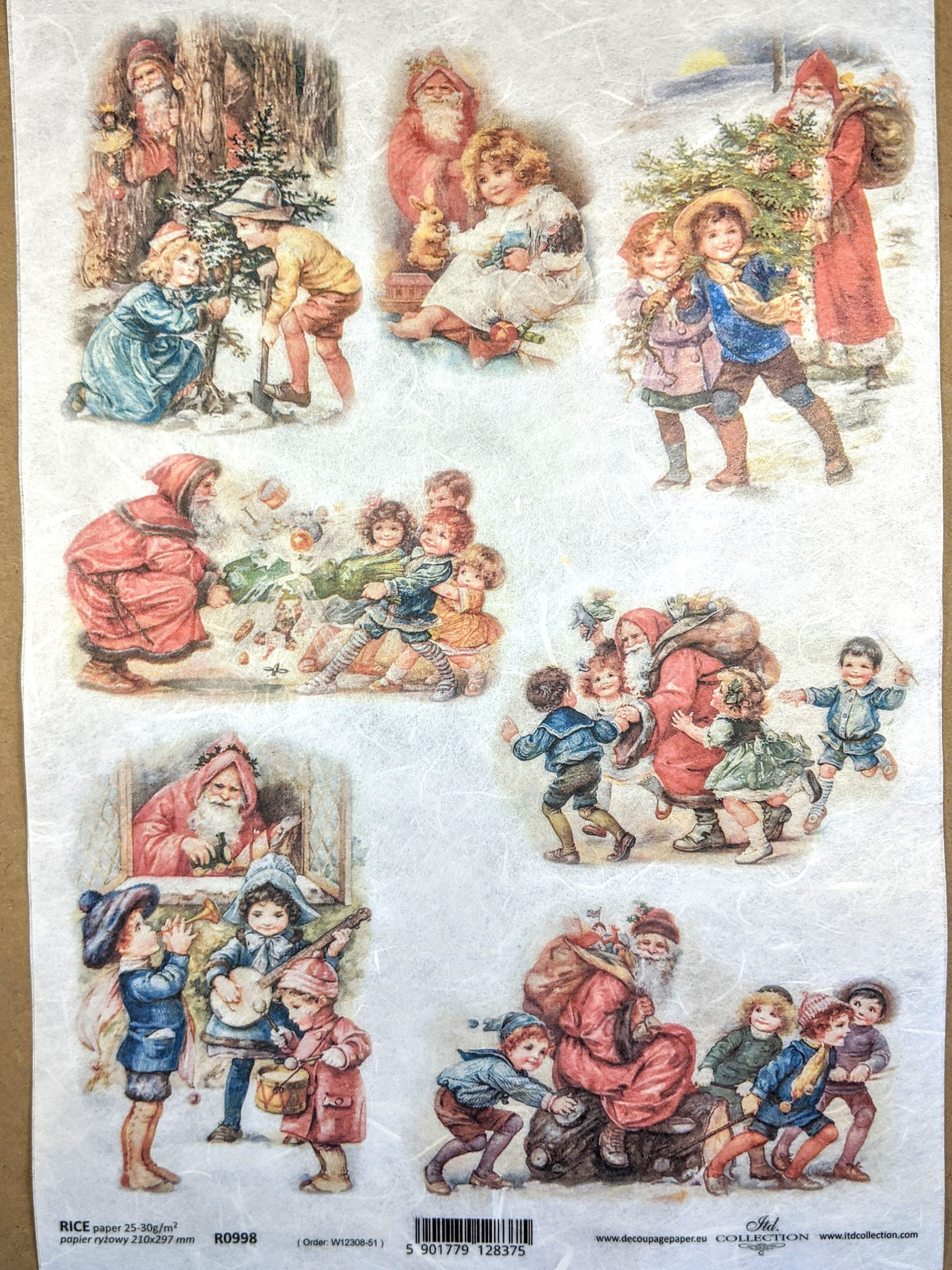 Santa and Children Rice Paper