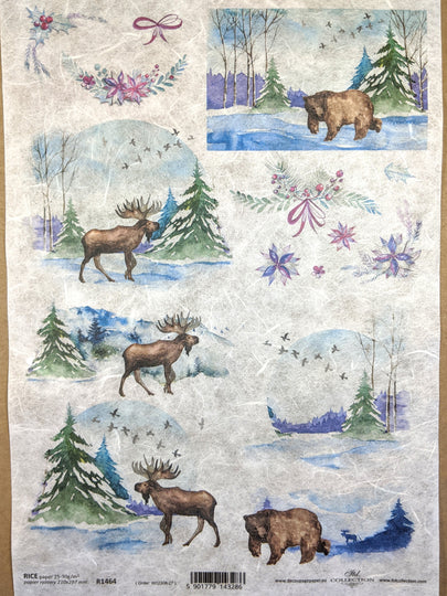 Winter Wildlife Rice Paper