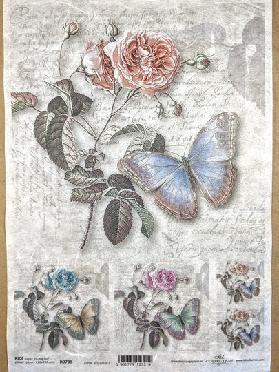 Roses and Butterflies Rice Paper