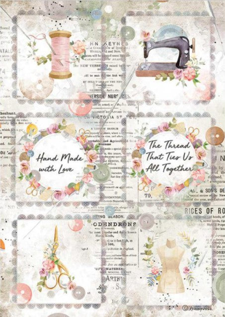 Stamperia A4 Rice Paper- Romantic Threads, Mini Cards
