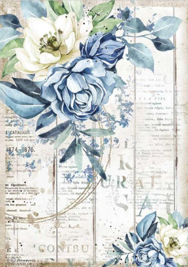 Stamperia A4 Rice Paper- Romantic Sea Dream, Blue Flower