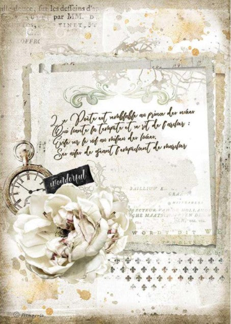 Stamperia A4 Rice Paper- Romantic Journal, Manuscript and Clock