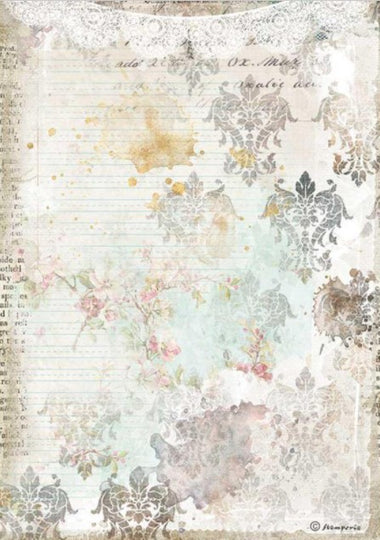 Stamperia A4 Rice Paper- Romantic Journal, Texture with Lace