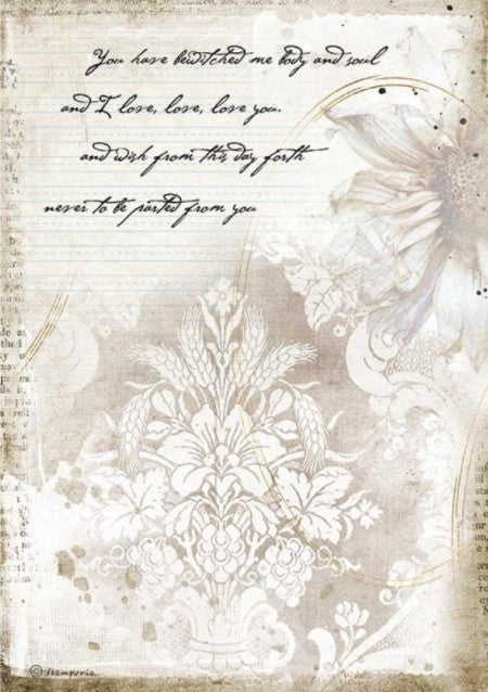 Stamperia A4 Rice Paper- Romantic Journal, Manuscripts
