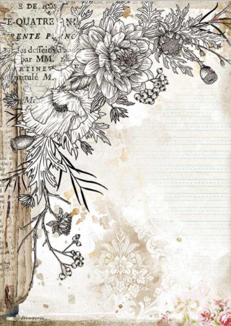 Stamperia A4 Rice Paper- Romantic Journal, Stylized Flower