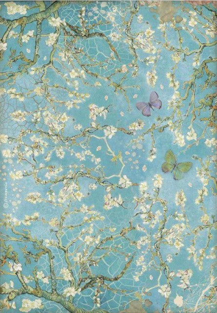 Stamperia A4 Rice Paper- Atelier, Blossom Blue Background with Butterfly