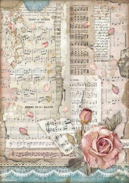 Stamperia A4 Rice Paper- Passion, Roses and Music