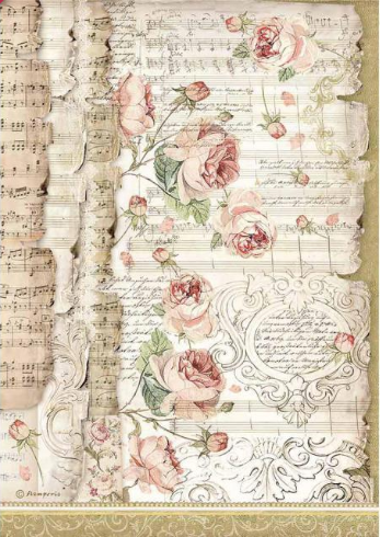 stamperia rice paper for decoupage music and roses