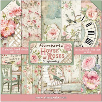"stamperia 8"" scrapbook paper  pad House of Roses"