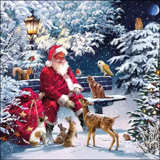 santa on bench decoupage napkins