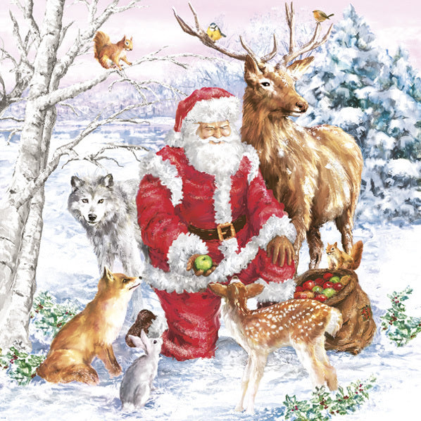 santa and animals napkins for decoupage