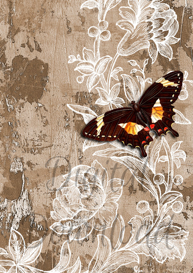 Ninny's Wallpaper with Butterfly Digital Download A4