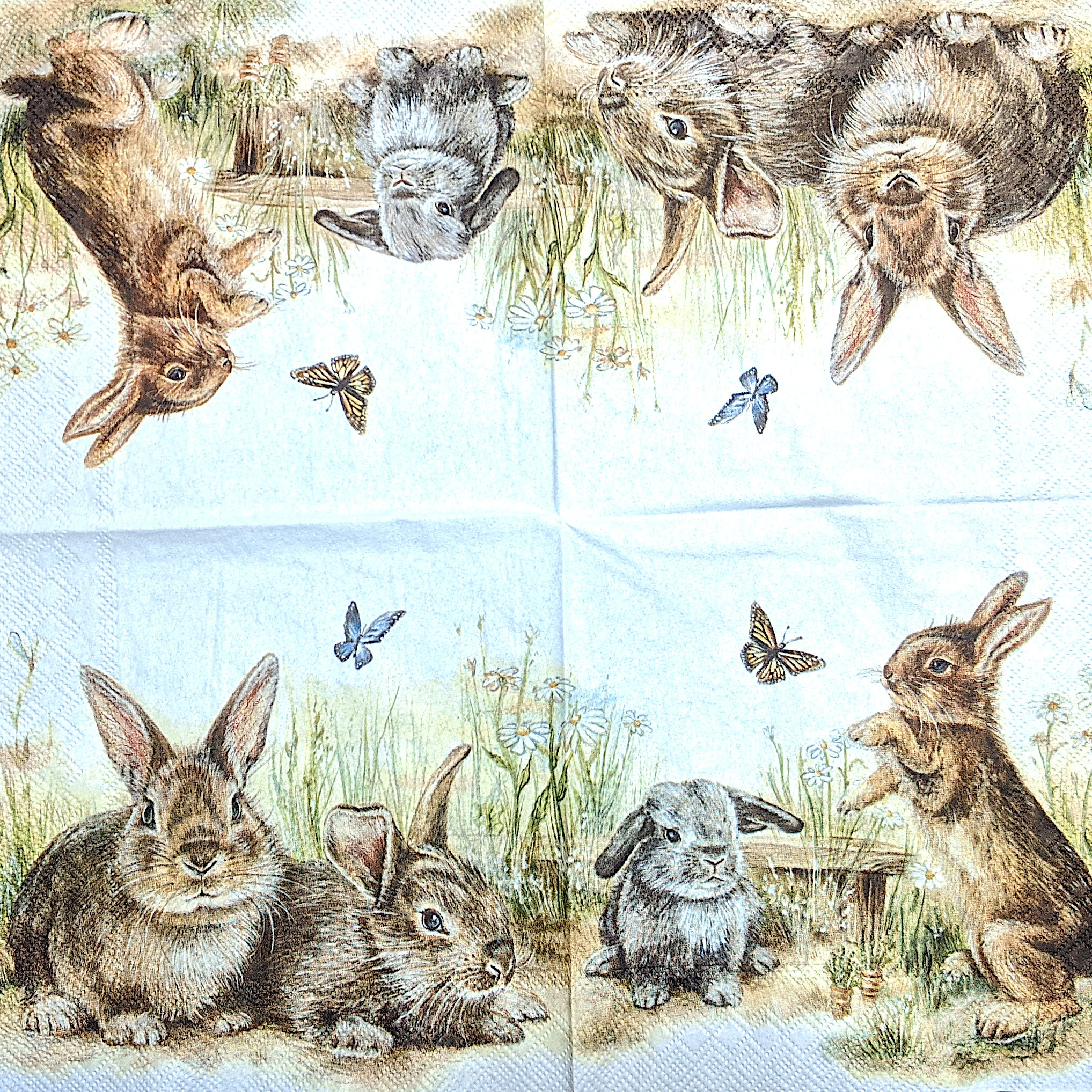 Bunny and Clyde Napkins for Decoupage