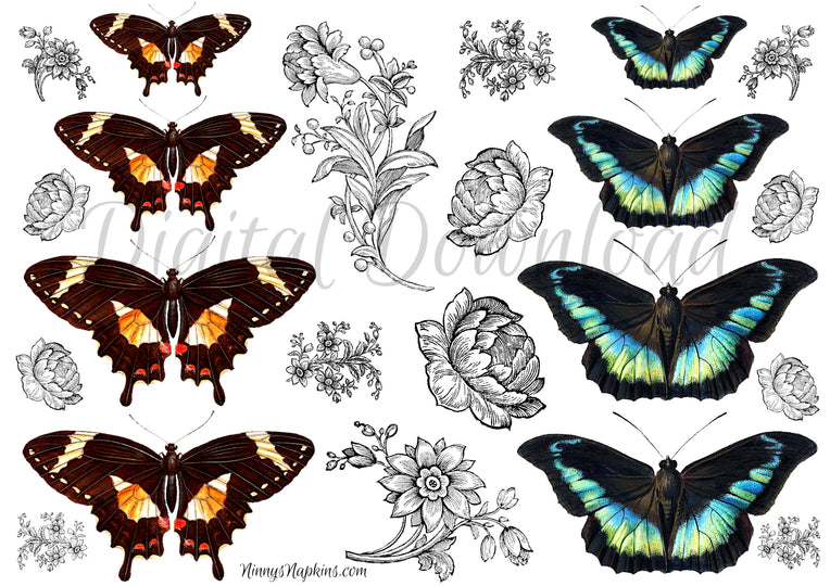 Ninny's Butterfly Bits Digital Download A4