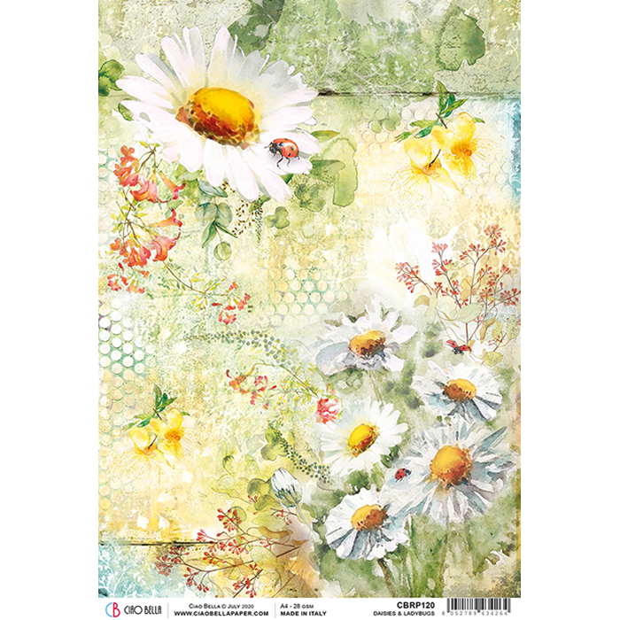 ciao bella rice paper for decoupage daisies and ladybugs