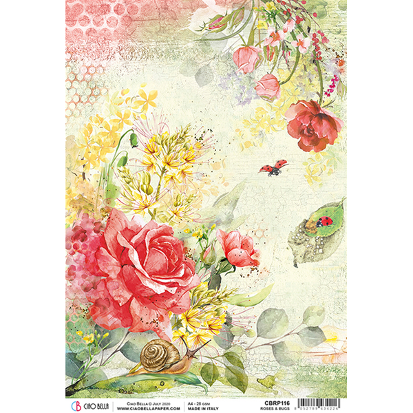 ciao bella rice paper for decoupage  roses and bugs